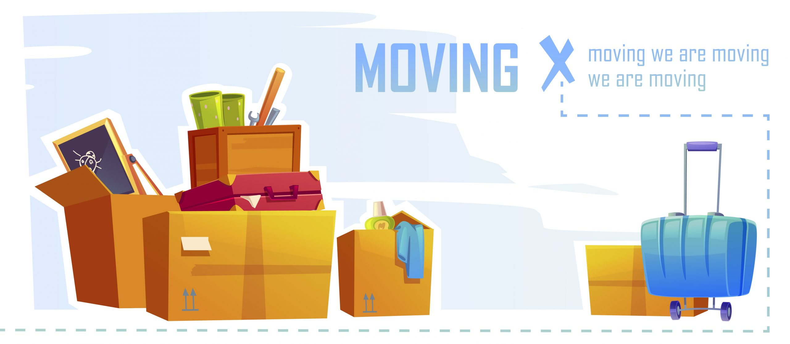 House moving banner with illustration of cardboard boxes and suitcase. Vector cartoon background with carton package for home things, tools, bags and stuff. Concept of relocation, apartment change